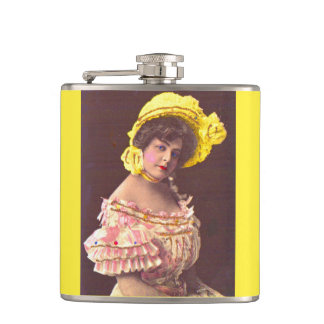 1890s woman in frilly attire print hip flask