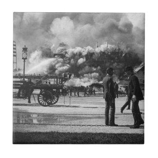 1892 WORLD COLUMBIAN EXPOSITION FIRE GLASS SLIDE TILE