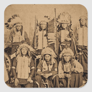 1895 Buffalo Bill Wild West Show Sioux Chiefs Square Sticker