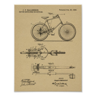 1896 Chainless Bicycle Design Patent Art Print