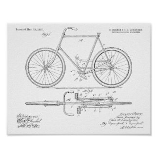 1897 Chainless Bicycle Patent Art Drawing Print