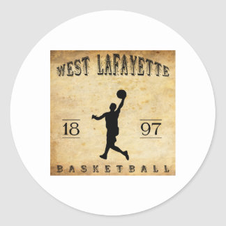 1897 West Lafayette Indiana Basketball Classic Round Sticker