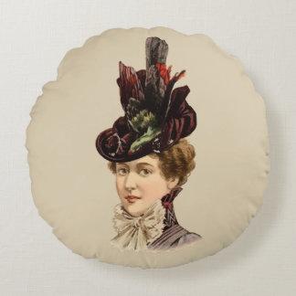 1899 Hat for Ladies #13 (Victorian era) Round Cushion