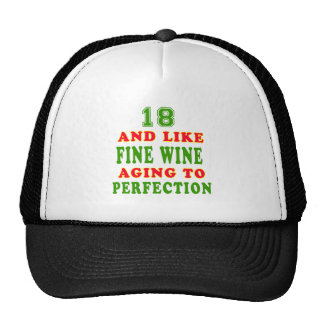 18 and like fine wine birthday designs mesh hats