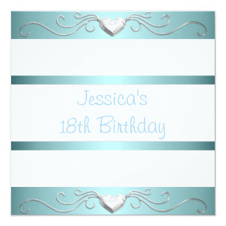 18th Birthday Blue White Silver Metal Hearts Card