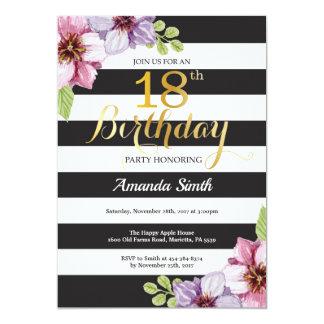 18th Birthday Invitation Women. Floral Gold Black