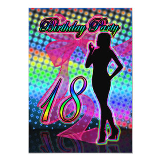 18th Birthday Party Invitation, Neon With Female S Card