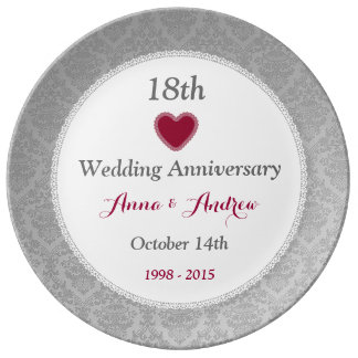18th Wedding Anniversary Silver Damask W10F Plate