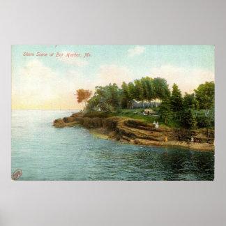 1909 Shore Scene at Bar Harbor, Maine Poster