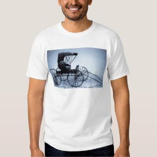 1910 Auto Seat Buggy Cyan Tone Vintage Tee Shirt