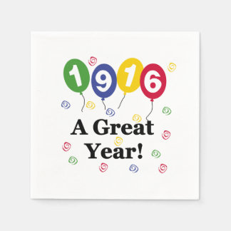 1916 A Great Year Birthday Paper Napkins