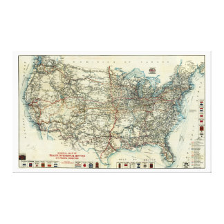 1918 AAA General Map of Transcontinental Routes Canvas Print