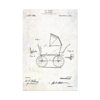 1918 Baby Carriage Patent Print Wrapped Canvas