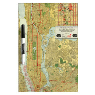 1918 New York Central Railroad Map Dry Erase Board