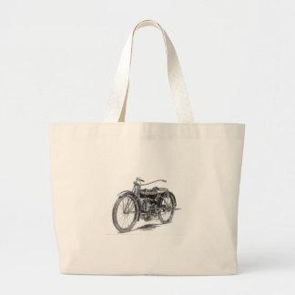 1918 Vintage Motorcycle Large Tote Bag
