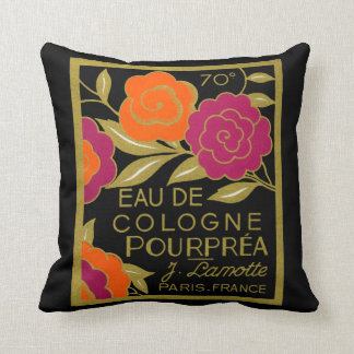1920 French Eau de Cologne Pourprea perfume Throw Pillow