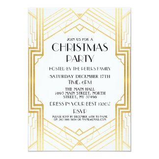 1920's Art Deco Christmas Invite Gatsby Party Gold