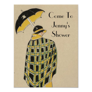 1920's Gold And Black Flapper With Umbrella Card
