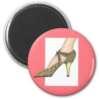1920s High Heeled Shoe 6 Cm Round Magnet