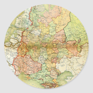 1928 Map of Old Soviet Union USSR Russia Round Stickers