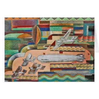 1929 Deco Transportation Mural Card