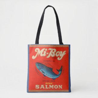 1930s Mi-Boy pink salmon can label Tote Bag