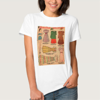 1930s paper doll seven outfits tee shirt
