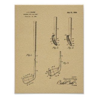 1934 Golf Club Head Patent Art Drawing Print