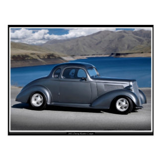 1935 Chevy Master Coupe Hot Rod Scenic Lake Postcard