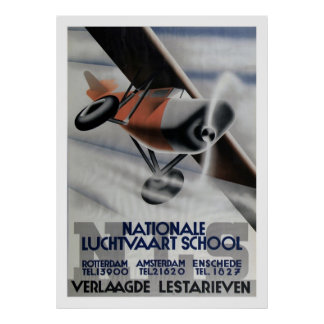 1937 Vintage Aviation Poster Art Deco