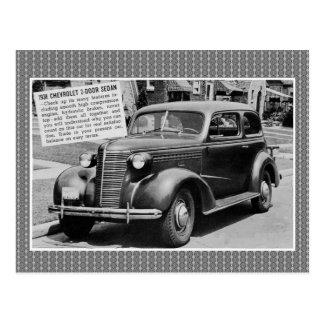 1938 Chevrolet 2-door sedan classic car Postcard