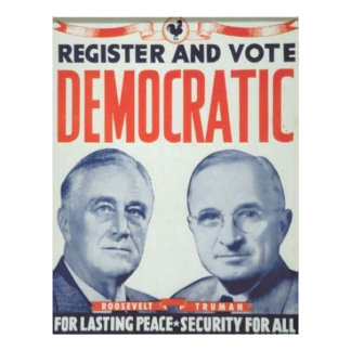 1944 Roosevelt - Truman 21.5 Cm X 28 Cm Flyer