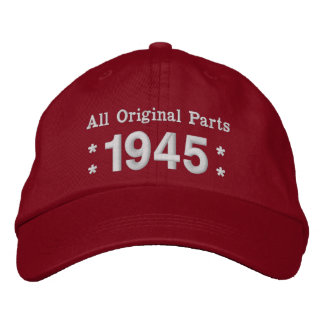 1945 or Any Year 70th Birthday A02 RED and WHITE Embroidered Hats