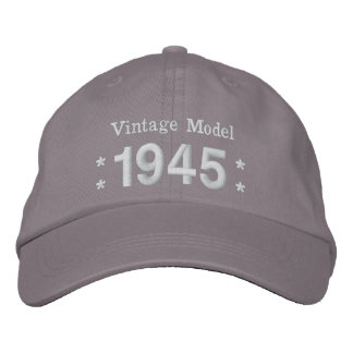 1945 or Any Year 70th Birthday A4 GRAY and WHITE Embroidered Hat