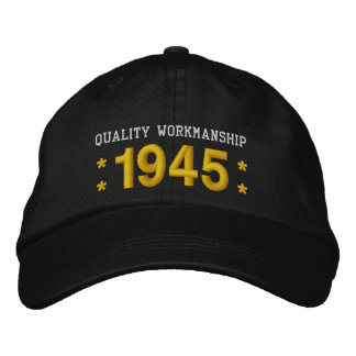 1945 or Any Year 70th Birthday A5 BLACK and GOLD Embroidered Baseball Caps