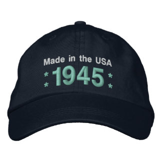 1945 or Any Year 70th Birthday A6 BLACK and TEAL Embroidered Hats