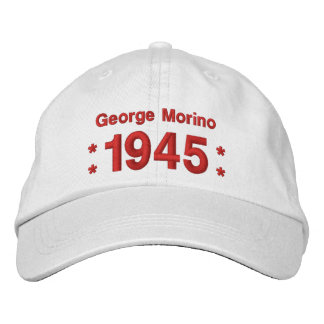 1945 or Any Year 70th Birthday A7 WHITE and RED Embroidered Baseball Cap