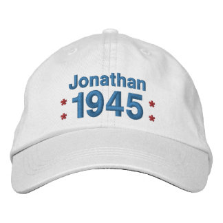1945 or Any Year 70th Birthday A8 WHITE and BLUE Embroidered Baseball Caps
