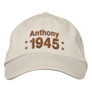 1945 or Any Year 70th Birthday A9 CREAM and BROWN Embroidered Baseball Cap