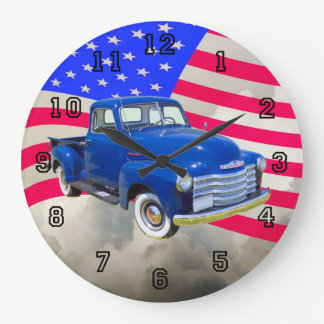 1947 Chevrolet Thriftmaster Pickup With US Flag Large Clock
