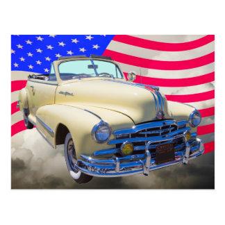 1948 Pontiac Silver Streak And United States Flag Postcard