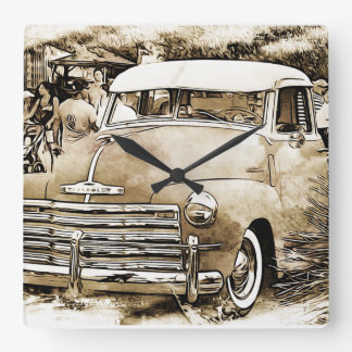 1950's Classic Chevy Chevrolet Truck Square Wall Clock