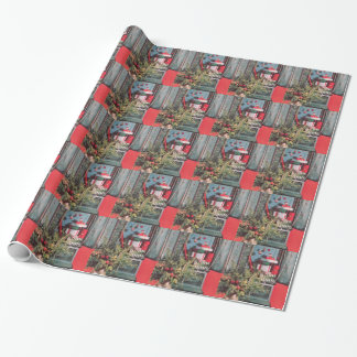 1950's Mid-Century Red Chest Ornaments Gifts Gift Wrap Paper
