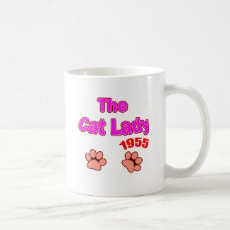 1955 cat lady coffee mug