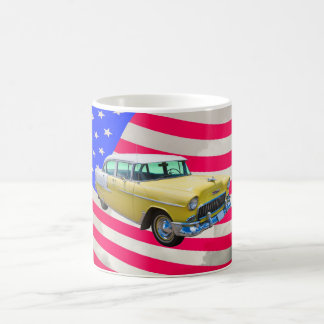 1955 Chevrolet Bel Air With American Flag Coffee Mug