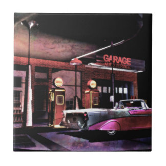 1956 Gas Station Small Square Tile