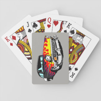 1956 Shoebox Playing Cards  in Black with Flames