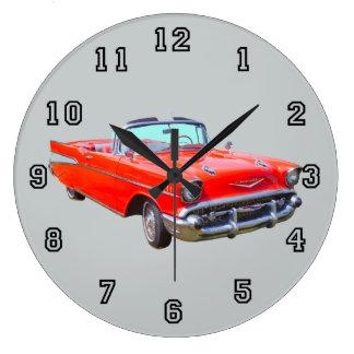 1957 Chevrolet Bel Air Convertible Antique Car Large Clock