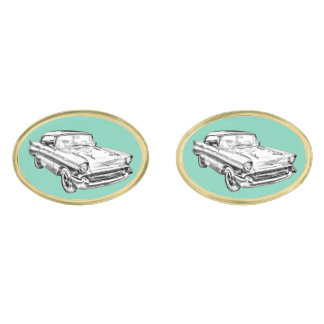 1957 Chevy Bel Air Classic Car Illustration Gold Finish Cufflinks