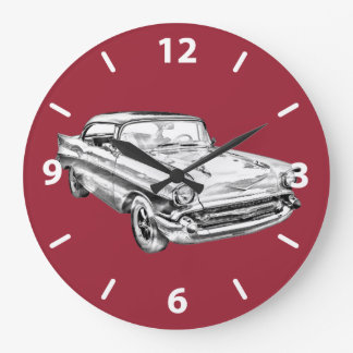 1957 Chevy Bel Air Classic Car Illustration Large Clock